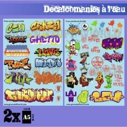 Decalcomanies a l'eau - Mix Trenes et Graffitis - Couleur