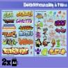 GreenStuffWorld - Decalcomanies a l'eau - Mix Trenes et Graffitis - Couleur