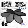 Socles en plastique noir avec CREUX- Oval 90x52mm