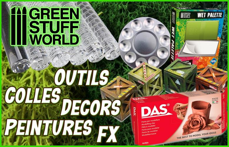 Toute la gamme Green Stuff World est chez Wielo : plusieurs centaines de références pour être équipé au mieux pour couper, façonner et peindre vos figurines et dioramas.